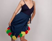 Vintage 60s Cotton Novelty Wrap Skirt with Primary Colour Balloon Pattern in Navy Red Yellow and Green 0330