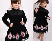 Gothic Lolita / Childrens Dress / Girls Dress / Holiday Fashion / Kids Fashion / Black Dress / Victorian Dress / Vintage Lace / Doll Dress /