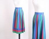 Vintage Skirt / 1980s Skirt / Colorblock / Pink  Blue / Bold Skirt / Graphic  / Geometric / Small Skirt / Fuschia Pink  / Teal 0528