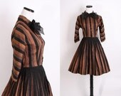 1940s Cocktail Dress / Cocktail Dress / Bronze / Wedding Dress / Stripe Dress  / Black Dress / Mad Men / 40s Dress / Circle Skirt / 0626