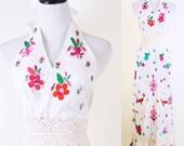 Wedding Dress / Vintage Wedding Dress / White Dress / Long Dress / Halter / Dress / Dresses / Mexican / Ethnic / Southwest /  0907