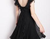 Little Black Dresses / Romantic Vintage 1950s Black Chiffon Cocktail Dress with Bustle Back and Ruffles 1199