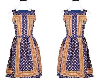 Cotton Dress / 1960s Dress / Dresses / Paisley  / Dresses / Copper / Blue / Ethnic / Short Dress  / 0975
