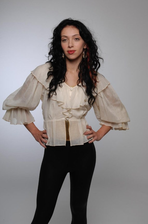 Vintage grunge princess buttercream sheer ruffle with exagerated edwardian sleeve button up skirted waist blouse