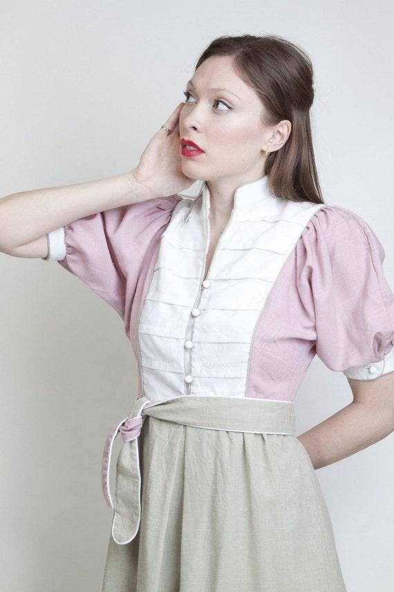 Vintage military band cotton tricolor pink camel taupe white dolman sleeve edwardian sleeve medium large day dress avant garde 0071