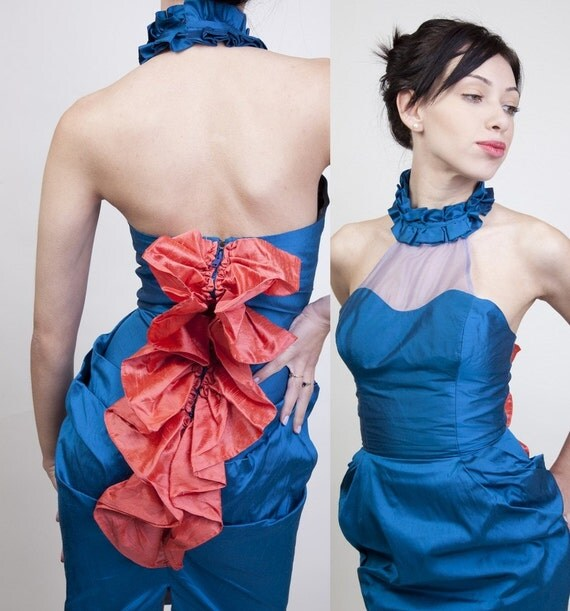 Reserved -  Avant Garde / High Fashion / Couture / Vintage / Turquoise / Coral / Peacock / Dragon / Mermaid / Dress / 0059