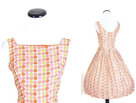 Mad Men Dress / Tangerine / Dress / Dresses / Cotton Dress / Coral Dress / Circle Skirt / Summer Dress / Citrus / 0989