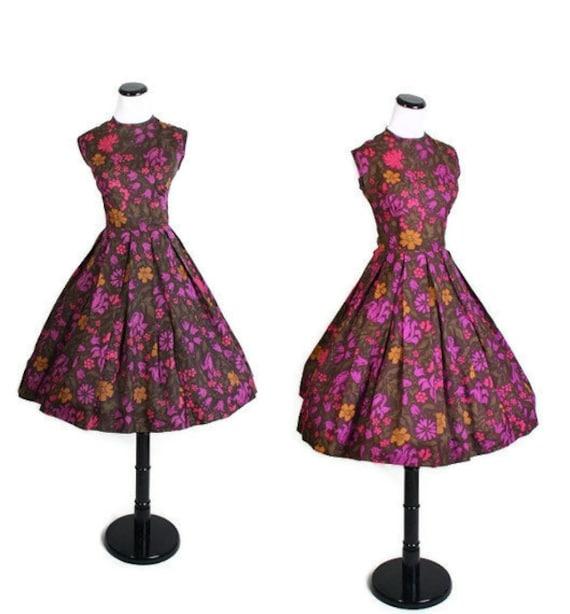 1950s Dress - Dresses - Cotton Dress - Floral Print - Maroon and Purple - Mad Men Dress - 1045