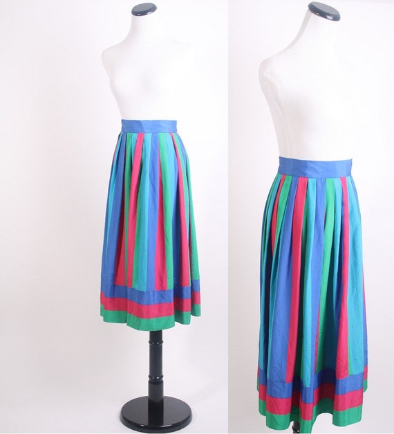 Vintage Skirt / 1980s Skirt / Colorblock / Pink  Blue / Bold Skirt / Graphic  / Geometric / Small Skirt / Fuschia Pink  / Teal 0528