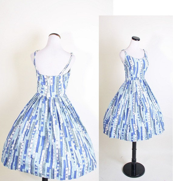 1950s Cotton Dress - Mad Men Dress - Dress - Floral Print - Summer Fashion - 1051