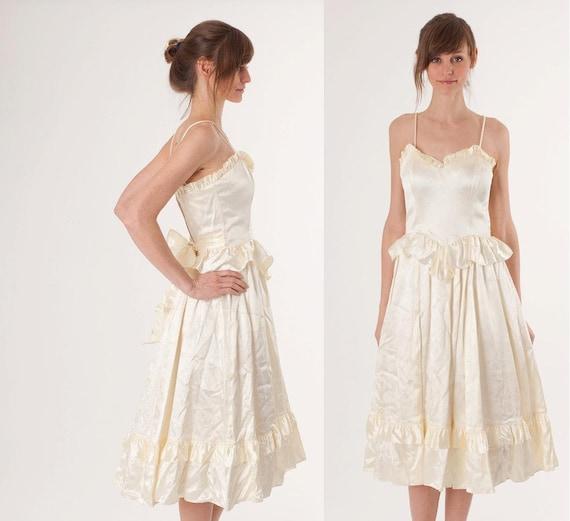 1980s Wedding Dress / Cocktail Party / White Ivory / Gunne Sax Boho / Ballerina / Short Dress / Wedding Dress /  0278