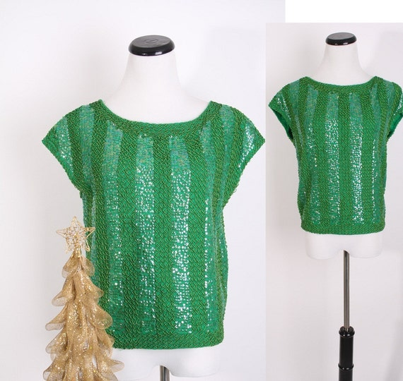 Deadstock / Sequin Top /  Kelly Green / 60s Sweater / Wool Sweater / Trophy / Mermaid / Art Deco / Christmas / Holiday Fashion /  0620