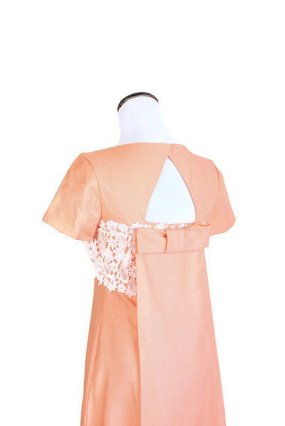 Mad Men Dress / Salmon Pink / Coral / Dress / Dresses / Vintage Crochet / Silk / Cocktail Dress / Party Dress / Train / Wedding Dress / 0991