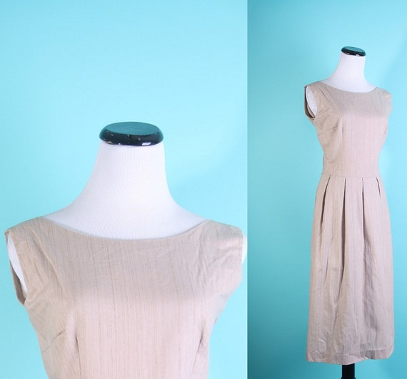 Vintage Dress / Mad Men Dress / Cotton Dress / Camel Dress / Office Fashion / 1960s Dress / Day Dress/  0869