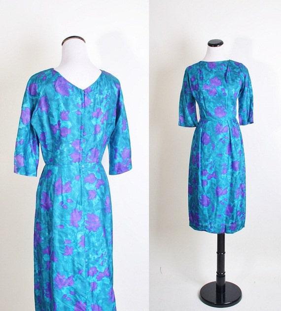 1960s cocktail dress / dress / dresses / vintage dress / teal dress / watercolor / wiggle dress / mad men / mad men joan / 1102