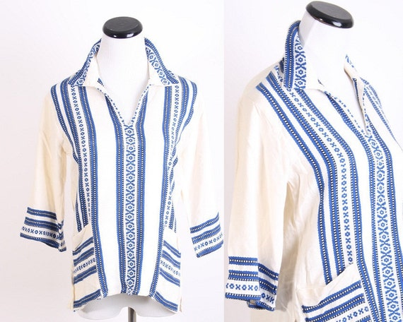 Southwestern Shirt / Aztec / Shirt / 1960s / 60s / Sixties / Greek  / Geometric / Royal Blue /  Fall Fashion / 0565