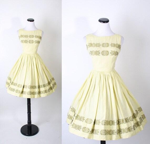 IKAT 1950s Dress -  Ethnic Dress - Olive Green Dress - Mexican - Aztec - Gingham Dress - fashion - Southwestern  - Dress  - Rustic - 01049
