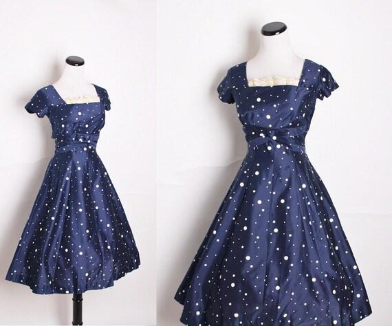 1950s Cocktail Dress / Navy Dress / Dress / Dresses / Blue / Polkadot / Polka dot / Nautical / Sailor / Mad Men / Pinup Dress /1174