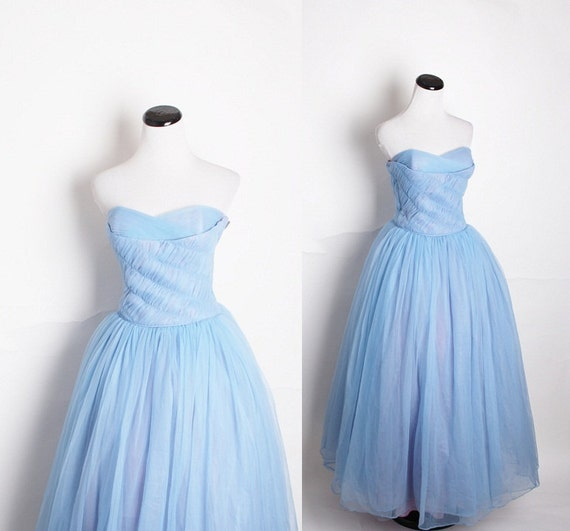 1950s Blue Wedding Dress / Blue Wedding Dress / Prom Dress / Mad Men / Dress / Dresses / Betty Draper / 1950s Dress / 1182