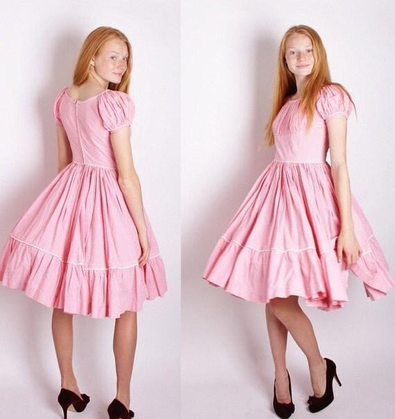 Pink Rockabilly Polka Dot Dress / Dress / Dresses / Cotton Dress / Bombshell / Pinup / Alternative / Wedding Dress / 1122