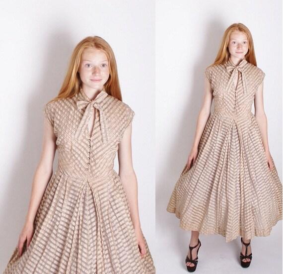 Vintage Dress/ Cocktail Dress / Mad Men Dress / Dress / Dresses / Beige / Sheer /  1940s Dress / Wedding Dress / 0841