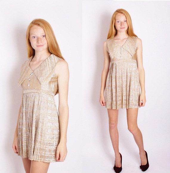 Gold 1960s Mod Mini Dress / Greek Dress / Grecian / Metallic / Short Dress / Alternative Wedding Dress / 1187