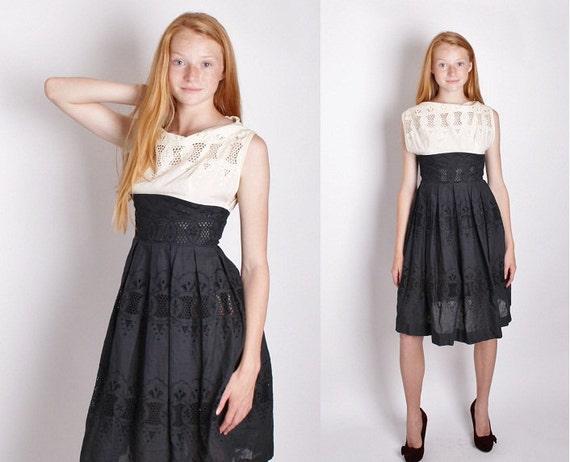 1950s Black and White Cotton Dress / Mad Men Dress / Rustic / Cocktail Dress / Dress / Dresses / 1173
