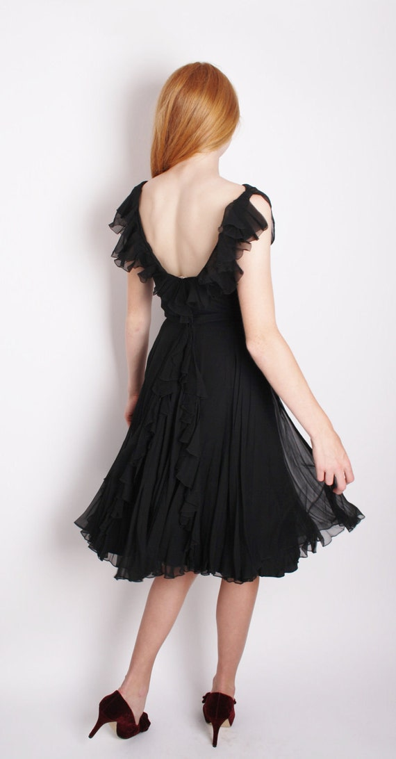 Little Black Dresses / Romantic Vintage 1950s Black Chiffon Cocktail Dress with Bustle Back and Ruffles 1199