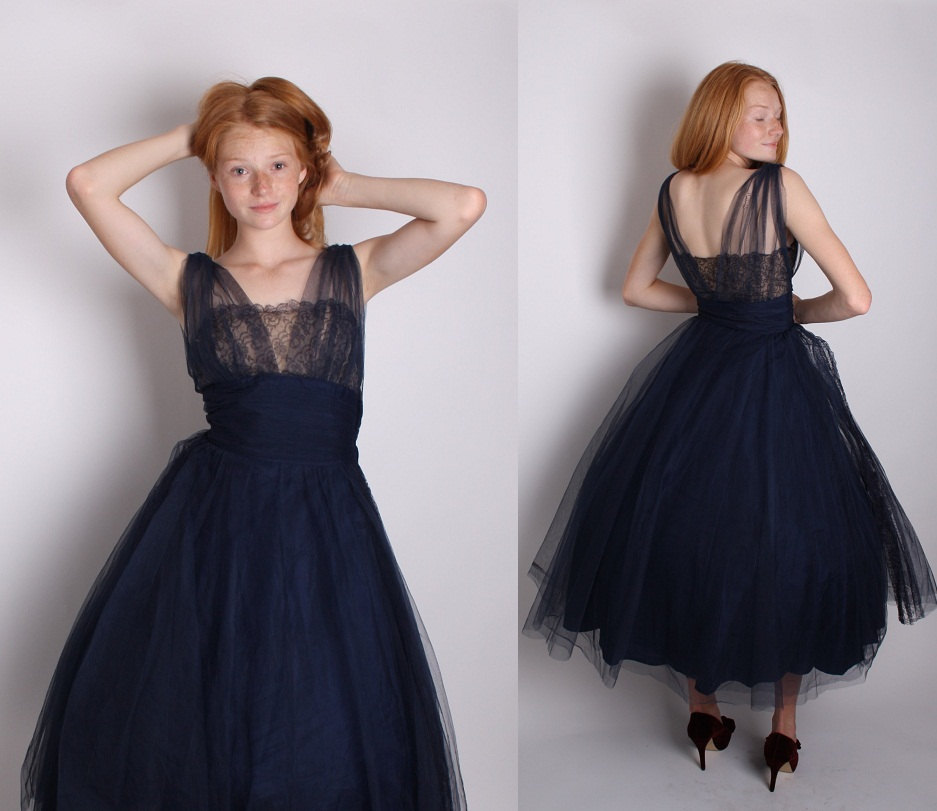 Navy blue illusion lace 1950s cocktail dress dress dresses for Midnight blue wedding dress
