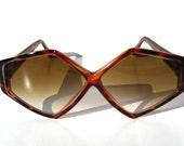 Geometric Diamond Shape Tortoise Brown Vintage 80s Sunglasses
