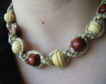 Thick Hemp Spiral and Wood Bead Necklace
