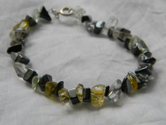 Glass Gemstone Bracelet with Hematite