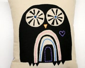 Printed and stitched owl pillow