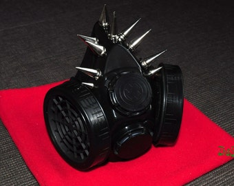 Black Cyber Mask Cyber Goth Respirator Gas Mask 10 Spikes