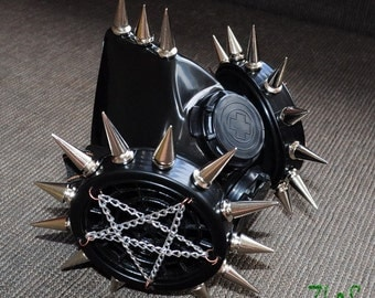 Black Cyber Mask Cyber Goth Respirator Gas Mask 27 Spikes and STAR