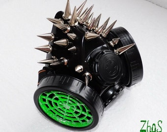 Cyber Mask Black Cyber Goth Respirator Gas Mask 25 Spikes