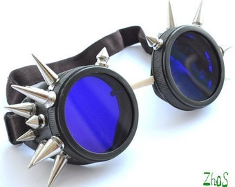 Cyber Goth Goggles Glasses 20 Spikes Punk Industrial Noise Dark Wave Steampunk    -21