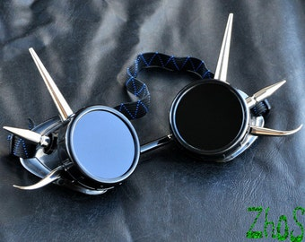Cyber Goth Goggles Glasses 6 Spikes CyberPunk Industrial Noise Dark Wave Dark
