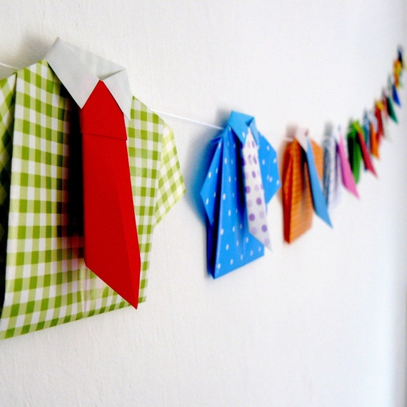 Paper Garland of Coloured Shirts and Ties