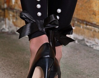 Tuxedo Inspired Pin Up Tights with Pearl Buttons & Satin Bows