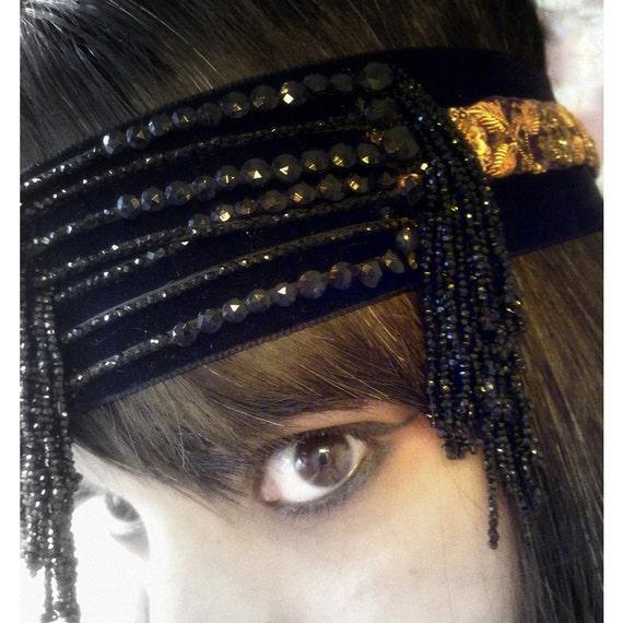 Flapper 20s headdress OOAK Black, Gold & Purple Headpiece made with Antique treasures