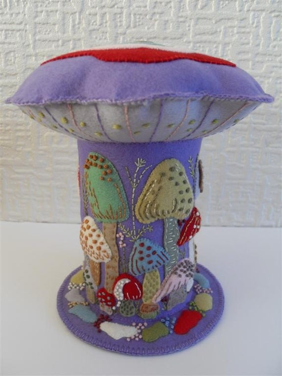 Extra Large Mushroom / Toadstool Pincushion on  Lilac