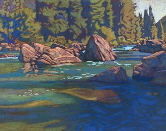"""Pastel Landscape """"Boulders on the Gallatin"""" Limited Print"""