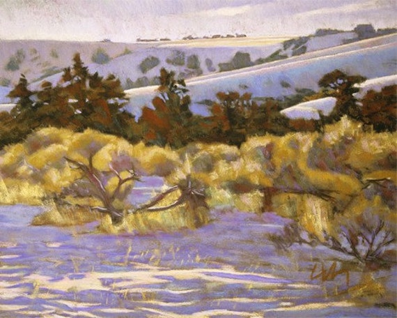 """Pastel Landscape """"Trees and Brush, Winter"""" Limited Print"""