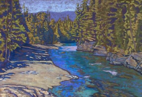 "Pastel Landscape ""McDonald Creek""- Limited Print"