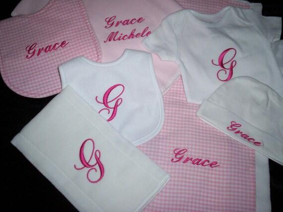 Ultimate Baby personalized monogrammed Shower gift set for girl blanket bibs burps onesie