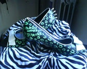 Hand painted shoes  leopard acid green metal studs punk rockabilly crust - diy