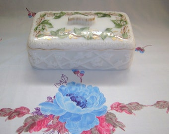 "Early 1900's Hand Painted Milk Glass Glove Box ""Very Rare"" Cherry Blossom"