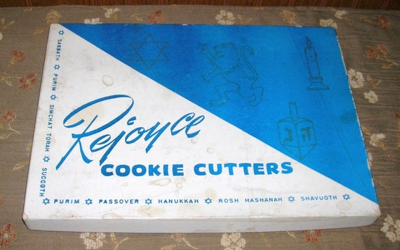 Vintage Set Of Hanukkah Passover Plastic Cookie Cutters With Original Box 1950s
