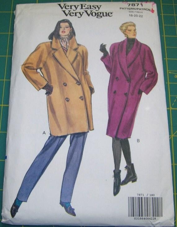 Vintage Vogue Misses' Loose Fitting Coat Sew Pattern 7871 Circa 1990 Size 18-20-22